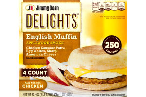 Jimmy Dean English Muffin Sandwiches Applewood Smoke Chicken Sausage Patty, Egg Whites, Sharp American Cheese - 4 CT