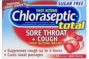 Chloraseptic Total Sore Throat + Cough Lozenges Sugar Free Wild Cherry - 15 CT