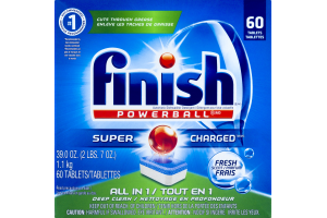 Finish Powerball Super Charged Automatic Dishwasher Detergent Tablets Fresh Scent - 60 CT