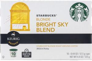 Starbucks Blonde Bright Sky Blend Roast Ground Coffee Keurig K-Cups - 10 CT