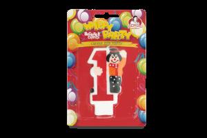 Свеча-цыфра с клоуном №1 Happy Party Помічниця 1шт