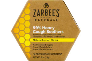 Zarbee's Naturals 99% Honey Cough Soothers - 14 CT