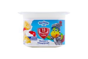 Йогурт 2% з пробіотиком Банан-яблуко Растішка ст 110г