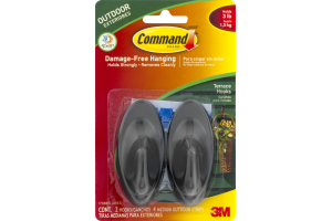 3M Command Brand Outdoor Damage-Free Hanging Black - 2 CT