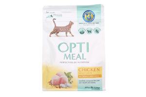 Корм повнораціонний сухий для дорослих котів - курка Optimeal 0,3 кг