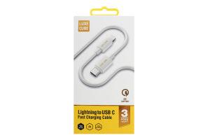 Кабель 1м білий Lightning to USB C Luxe Cube 1шт