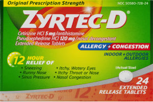 Zyrtec-D Allergy + Congestion Extended Release Tablets - 24 CT