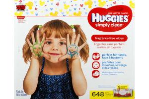 Huggies Simply Clean Wipes Fragrance Free - 9 PK