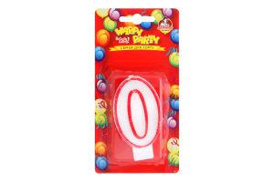 Свічка-цифра для торту глазурована 7.5см №P52-618/0 Happy Party Помічниця 1шт