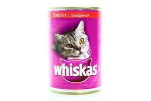 Корм для взрослых котов паштет с говядиной Whiskas ж/б 400г