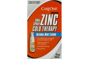 CareOne Zinc Cold Therapy Oral Spray Natural Mint Flavor