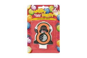 Свічка-цифра для торту з клоуном №8 Happy Party Помічниця 1шт