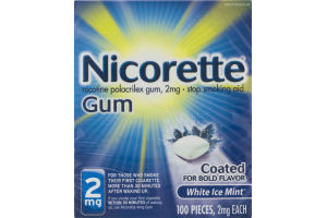 Nicorette Gum Stop Smoking Aid 2mg White Ice Mint - 100 PCS