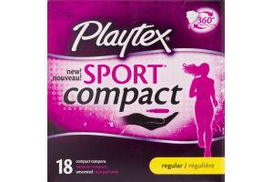 Playtex Sport Compact Tampons Regular - 18 CT