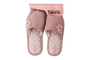 Тапочки открытые домашние женские №4583 Twins 36-37 pink star