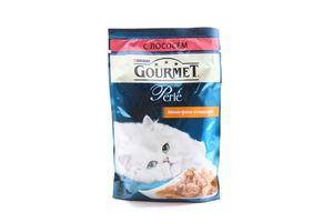 Корм влажный для взрослых котов мини-филе в подливе с лососем Perle Gourmet м/у 85г