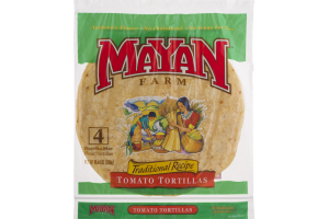 Mayan Farm Burrito Size Flour Tortillas Traditional Recipe Tomato Tortillas - 4 CT
