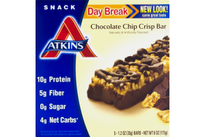 Atkins Day Break Chocolate Chip Crisp Bar - 5 CT