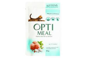 Корм повнораціонний консервований для кошенят з куркою Optimeal 0,085 кг