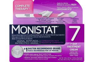 Monistat 7 Vaginal Antifungal 7-Day Treatment Cream Combination Pack, Monistat 7 Antimicotico Vaginal Crema Con Tratamiento Para 7 Dias Paquete De Combinacion