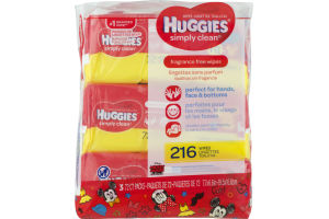 Huggies Wipes Simply Clean Fragrance Free Soft Packs - 3 CT