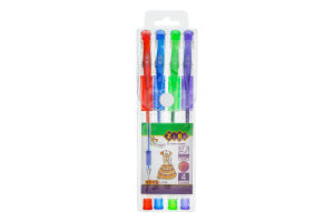 Ручки гелеві №ZB.2200-99 Глітер Zibi 4шт