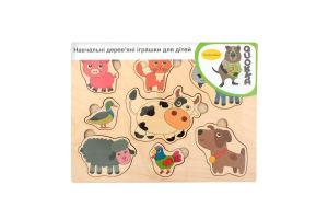 Пазл-вкладиш дерев'яний для дітей від 3-х років Домашні тварини Quokka 1шт