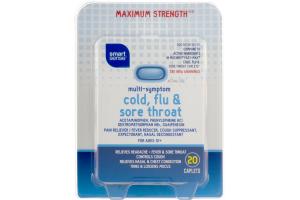Smart Sense Multi-Symptom Cold, Flu & Sore Throat Maximum Strength Caplets - 20 CT