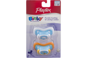 Playtex Binky 0-6M Silicone Pacifiers - 2 CT