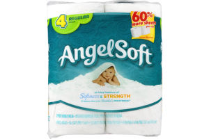 Angel Soft Bathroom Tissue Unscented Regular Rolls - 4 CT