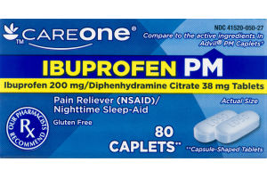 CareOne Ibuprofen PM Pain Reliever/Nighttime Sleep-Aid - 80 CT