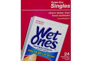 Wet Ones Antibacterial Hand Wipes Fresh Scent Singles - 24 CT