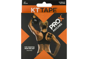 KT Tape ProX Patches for Targeted Pain Relief Jet Black - 15 CT