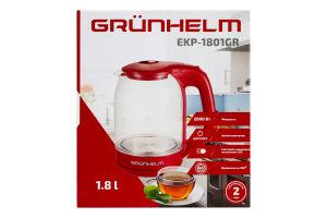 Електрочайник GRUNHELM -EKP-1801GR скляний (червоний) NEW 1,8л, дисковий 2000 Вт,LED підсвічування
