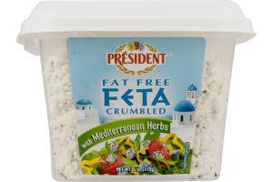 President Fat Free Feta Crumbled with Mediterranean Herbs