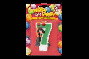 Свеча-цифра для торта с клоуном №7 Happy Party Помічниця 1шт