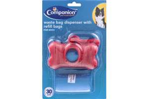 Companion Dog Waste Bag Dispenser with Refill Bags - 30 Bag CT