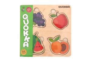 Пазл-вкладыш деревянный для детей от 1года QUOKA015FP 4 фрукта Quokka 1шт