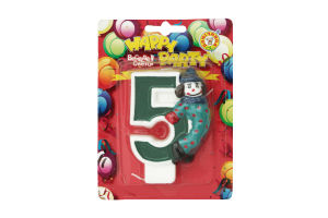 Свічка-цифра для торту з клоуном №5 Happy Party Помічниця 1шт