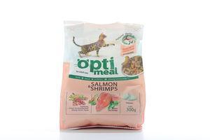 Корм сухой для кошек с лососем и креветками Optimeal 300г