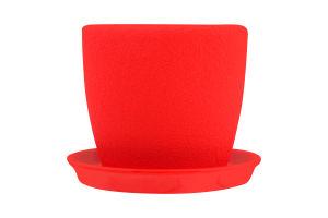 Горшок Сонет шелк керамика красный 10*10*0,5