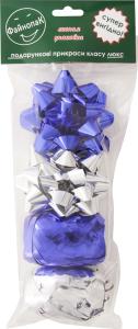 Набір прикрас для подарунка бантики Конфеті+стрічки 5ммх10м Кокон №PLP184S Файнопак 1шт