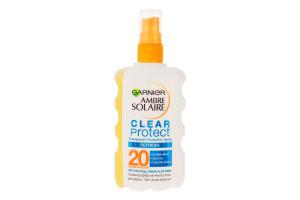 Спрей сонцезахисний освіжаючий прозорий Clean Protect SPF20 Ambre Solarie Garnier 200мл