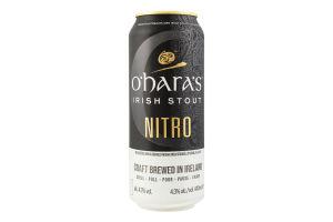 Пиво 0.44л 4.3% темне фільтроване пастеризоване солодове Nitro Irish stout O'hara's з/б