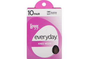 L'eggs Everyday Knee Highs Sheer Toe Suntan - 10 CT
