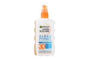 Спрей сонцезахисний освіжаючий прозорий Clean Protect SPF30 Ambre Solarie Garnier 200мл