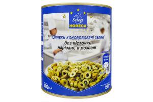 Оливки зеленые консервированные нарезанные без косточки в рассоле Horeca Select ж/б 3кг