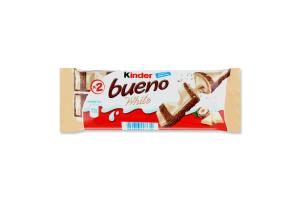 Вафлі з молочно-горіховою начинкою покриті білим шоколадом Bueno White Kinder м/у 39г