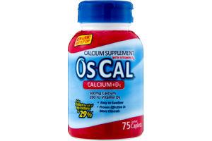 Os-Cal Calcium+D3 Supplement Coated Caplets - 75 CT