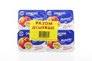 Йогурт1,5% Живинка персик-маракуйя Danone уп 4*115г/460г